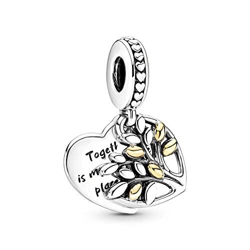 LIIHVYI Pandora Charms para Mujeres Cuentas Plata De Ley 925 Joyería del Árbol De La Vida del Corazón Compatible con Pulseras Europeos Collars