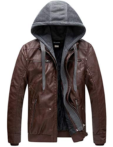 Wantdo Men's Leather Jacket with Removable Hood US XX-Large Coffee