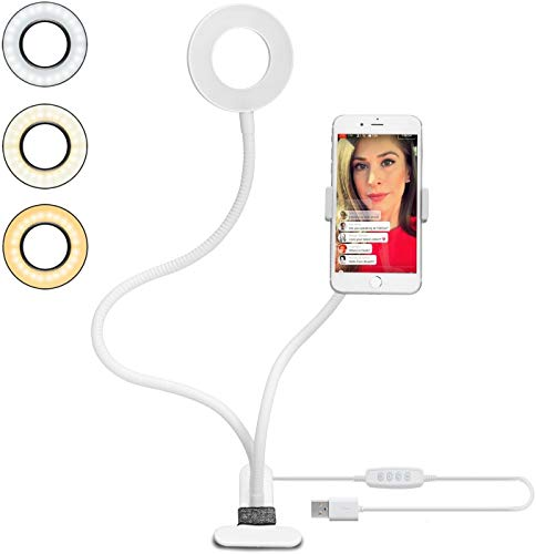 Selfie Ring Licht ( Weiß) dimmbar 3 Leuchtmodi und 10 Helligkeiten Stufen,Für YouTube, Facebook, Twitter, Online-Chat, Make-up,Samsung, iPhone 7/8 / iPhone X, Tablet, Laptop, Leselicht Bettlampe