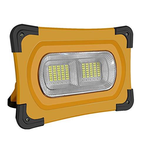 Komake Luz de Trabajo Solar, Foco LED de Trabajo Recargable con 4 Modos de Iluminación / IP65 a Prueba de Lluvia/Base Magnética, Adecuado Para Camping, Taller, Pesca (120W/10400mAH),Naranja