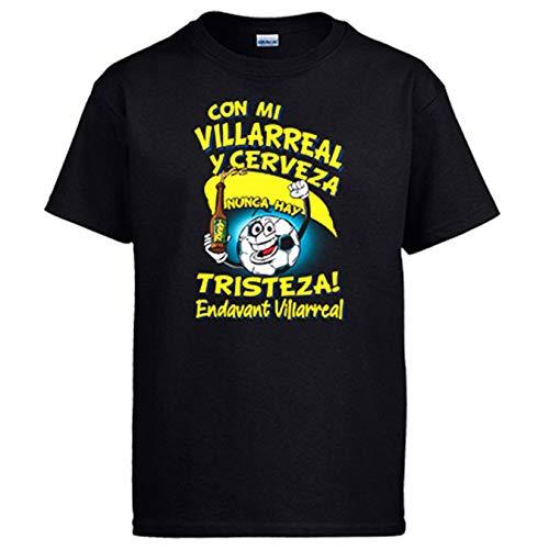 Camiseta Frase con mi Villarreal y Cerveza Nunca Hay Tristeza para Aficionado al fútbol - Negro, XL