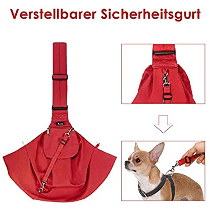 SlowTon Pet Dog Cat Hand Free Sling Carrier Shoulder Bag Adjustable Padded Shoulder Strap Tote Bag with Front Pocket Outdoor Travel Puppy Carrier for Walking Daily Use 5