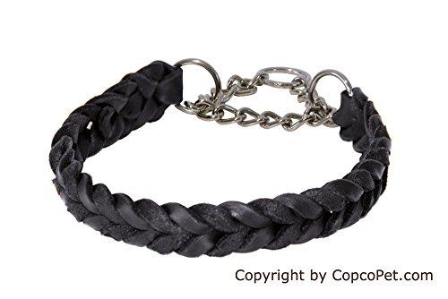 CopcoPet - Fettleder Halsband geflochten mit Zugstop - Kette, Schwarz 40-45 cm x 20 mm