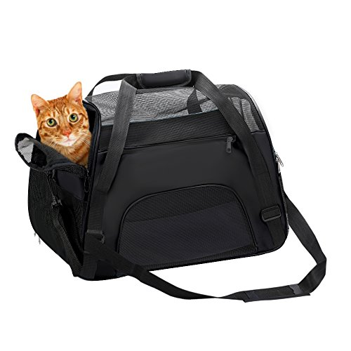 DONYER POWER Soft Sided Pet Carrier for Dogs & Cats Comfort Airline Approved Under Seat Travel Tote Bag Backpack, Travel Bag for Small Animals with Mesh Top and Sides,BLACK