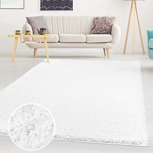 Carpet City ayshaggy Shaggy Teppich Hochflor Langflor Einfarbig Uni Weiß Weich Flauschig Wohnzimmer, Größe: Läufer 60 x 110 cm, 60 cm x 110 cm