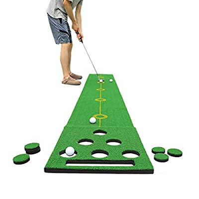 SPRAWL Golf Putting Mat Golf Pong Practice Green 11.5 Feet x 19.7 Inch Alignment & Distance Golfer Training Mat with 4 Balls & 6 Hole Covers for Indoor Short Game Office Backyard Use