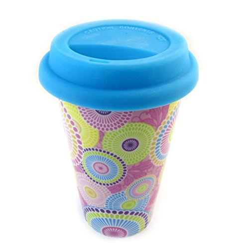 Les Trésors De Lily [N3216 - Mug de Transport céramique 'Katmandou' Bleu - 15x9 cm