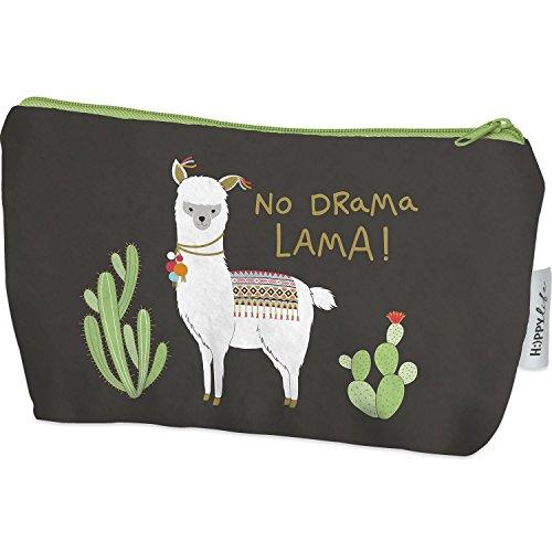 Die Geschenkewelt 45571 Mäppchen mit Lama und Kaktus, 20 cm x 12 cm x 4 cm, mit Reißverschluss, Geschenk-Artikel, Polyester, Mehrfarbig