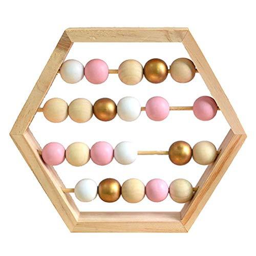 Borstu Zählrahmen Abakus Lernspielzeug Sechseckform Rechenhilfe Holzspielzeug Früh Pädagogisches Spielzeug aus Holz für Baby
