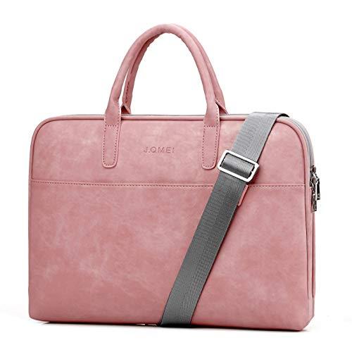 Leather Laptop Bag for 17' Computer Laptop Case Waterproof Laptop Sleeve Shoulder Messenger Bag for Women and Men Business Briefcase Bag for Notebook Travel School Pink