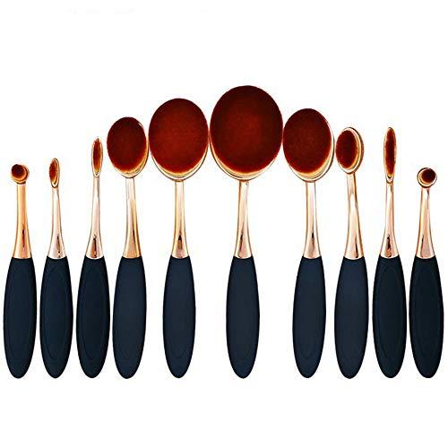 YLiansong Make up Pinsel 10 Oval Make-up Pinsel Set Professional Foundation Concealer Gemischte Blush Liquid Cream Kosmetikbürste, Zahnbürste Kurve Makeup Tools Gesicht und Augen Schönheit Tools