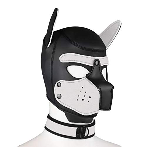 Duzzy Leder Vollmaske Puppy Mask Gepolsterte Welpenhaube Hund Welpe Kapuze Abnehmbarer Mund Kostüm Party Cosplay Unisex M