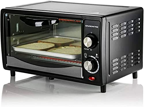 Ovente Countertop 4 Slice Capacity Convection Toaster Oven with Stainless Steel Portable Baking Pan & Crumb Tray, Compact Easy Clean 800 Watt Pizza Maker with 3 Cooking Mode and Timer, Black TO5810B