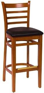 BFM Burlington Ladder Back Barstool Cherry Black Vinyl Seat Model Lwb101Chblv