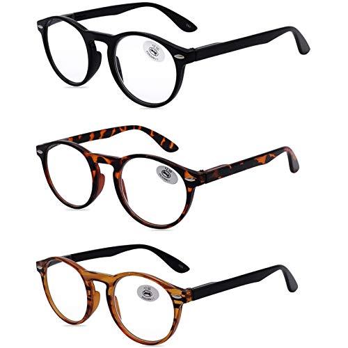 AMILLET 3 Stueck Lesebrillen Damen Herren Retro Runde Lesehilfe Sehhilfe Arbeitsplatzbrille Nerdbrille Hornbrille mit Stärke