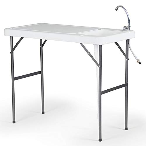 Modern Home Portable Folding Outdoor Fish Fillet Table for Cleaning/Cutting with Sink Faucet