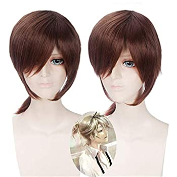 Kagamine Rin/Kagamine Len Cosplay Wig Short Brown Synthetic Hair Kagamine Len Halloween Party Costume Wigs