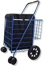 Folding Shopping Cart. Heavy Duty Metal Body Extra Basket. Front Swivel Wheels. Free Liner 1 Year Warranty- National Standard Products (Blue)