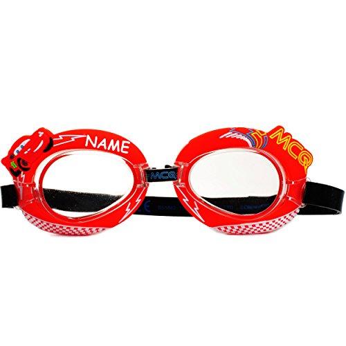 alles-meine.de GmbH 3-D Effekt _ Schwimmbrille / Chlorbrille / Taucherbrille -  Disney Cars - Lightning McQueen - Auto  - incl. Name - Kinder von 2 bis 12 Jahre - verstellbar /..