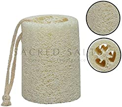 Sacred Salts Hand Loofah Bath Scrubber Luffa Puff Natural Boar Fiber With Rope | Dead Skin Removal For Men & Women, Grey, 140 g