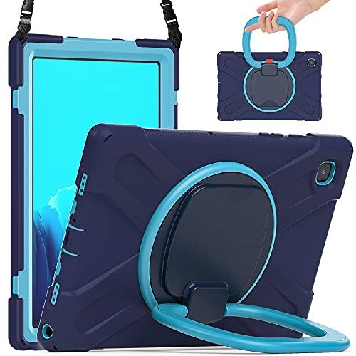SZCINSEN Funda para tablet Samsung Galaxy Tab A7 10.4 T500, resistente a los golpes, funda protectora con asa plegable, soporte giratorio, correa de hombro (color azul marino + azul)