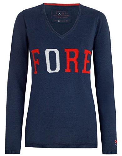 girls golf Pullover Giant Fore Damen Navy dunkelblau rot weiß Fore - S