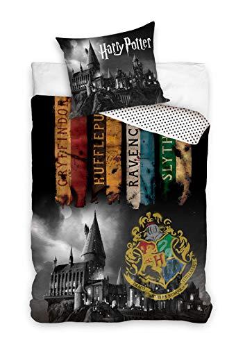 Harry Potter Funda nórdica con funda de almohada de 140 x 200 cm y 70 x 90 cm, algodón reversible.