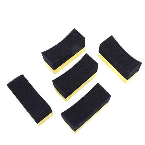 Baalaa 5x profesional automotriz rueda de coche arandela de neumáticos Aplicador de recubrimiento de neumáticos de espuma curvada almohadilla de esponja negro y amarillo