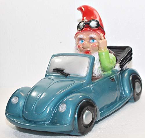 RAKSO Gartenzwerg Garten Zwerg Verkehrsrowdy im Auto sitzend H 23 cm mit Scherz Bewegungsmelder Pfiff Pfeifen