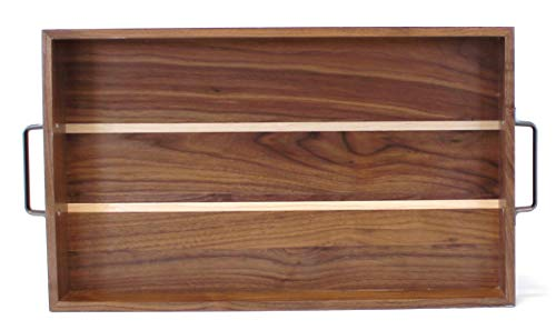 GOLDENGIST Walnut Wood Ottoman Tray-Wooden Serving Tray with Handles for Coffee  Tea Breakfast bar Outdoors