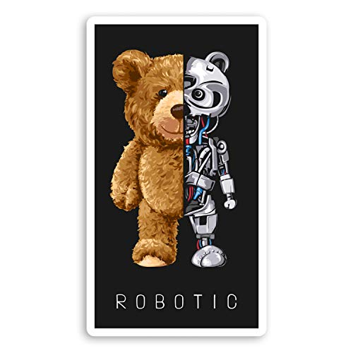 2 pegatinas de vinilo Robotic Bear de 10 cm – Robotics Tech AI Sticker #29203