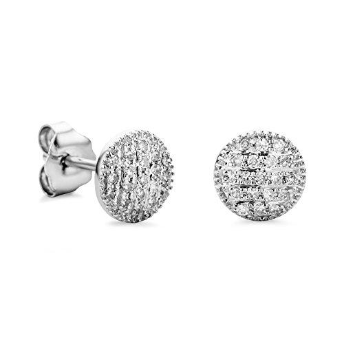 Orovi pendientes de mujer presión 0.11 Quilates diamantes en oro blanco 9 kilates ley 375