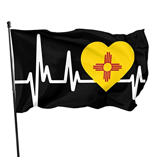 Zudrold Außenflaggen New Mexico Heartbeat Flag Flagge für Sportfan Fußball Basketball Baseball Hockey
