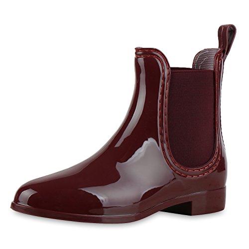 SCARPE VITA Damen Gummistiefel Lack Stiefeletten Chelsea Boots Regenschuhe 160511 Dunkelrot Lack 39