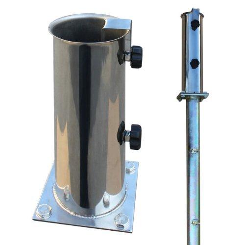 ProKIRA® Sonnenschirmständer Schirmständer Gartenschirm Bodenplatte für Bodenmontage inklusive Bodenhülse/für Schirmstöcke Ø 55-75 mm/Edelstahl