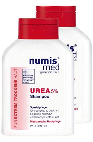 numis med Shampoo mit 5% Urea - Shampoo parfümfrei & vegan - Haarshampoo für sensible, zu Neurodermitis neigende & trockene Haut im 2er Pack (2x 200 ml)