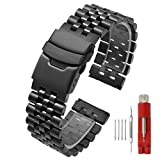 Super Brushed & Polished 3D Solid Black Stainless Steel Watch Bracelet Band 20mm Security Double Deployment Buckle
