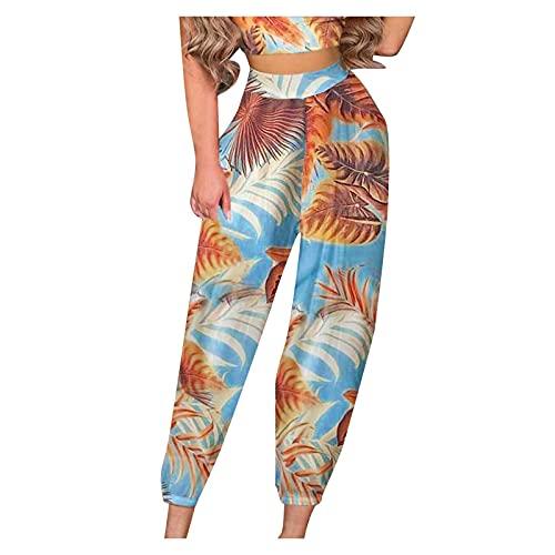 JOFOW Women Harem Pants Wide Leg Baggy Trousers Yoga Sweatpants Pajama Bottoms High Waist Printed Boho Lantern Trousers (02 Blue, L)