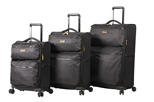 Lucas Designer Luggage Collection - 3 Piece Softside Expandable Ultra Lightweight Spinner Suitcase Set - Travel Set includes 20 Inch Carry On, 24 Inch & 28 Inch Checked Suitcases (Black)