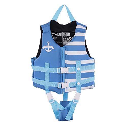 Boglia Kleinkind-Schwimmweste, Schwimmwesten für Kleinkinder, Schwimmanzug-Badebekleidung für Kinderwesten mit verstellbarem Sicherheitsgurt für Unisex-Kinder Streifen Hellblau M