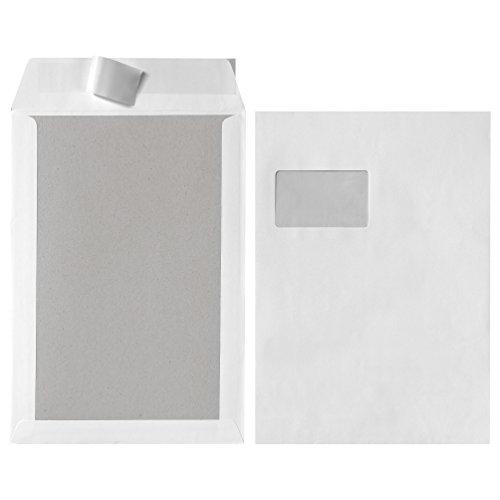 Herlitz Versandtasche C4 Haftklebend, weiß mit Fenster und Papprückwand 120g/m², 5 Stück, 5-er Packung, eingeschweißt
