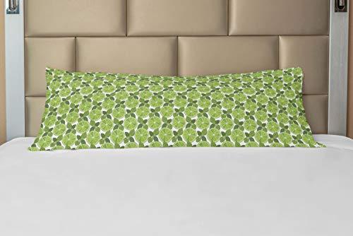 ABAKUHAUS Munt Hoes voor Ligzak met Rits, Lime Cocktail Dranken Kruiden, Decoratieve Lange Kussensloop, 53 x 137 cm, Olive Green Pale Green