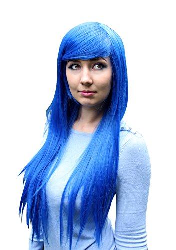 Prettyland C950 - Langhaar lange Perücke 80cm Glatt Lucky Star Wig Türkis Blau Königsblau