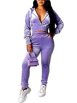 Women Casual 2 Piece Velour Sweatsuits Zipper Crop Hoodies Sports Trousers Velvet Tracksuit 2pcs Jogging Sets  Purple M