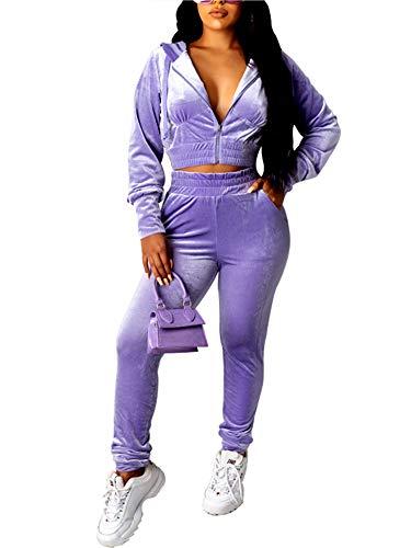 Women Casual 2 Piece Velour Sweatsuits Zipper Crop Hoodies Sports Trousers Velvet Tracksuit 2pcs Jogging Sets (Purple, S)