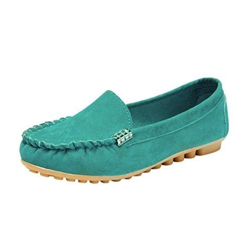 FNKDOR Damen Mokassin Slipper Halbschuhe Espadrilles Flach Schuhe (38, Türkis)