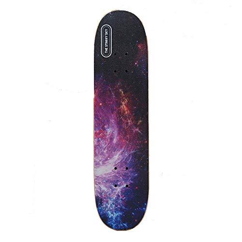 RIMEI Skateboard Standard Komplettes Longboard 9-lagiges Ahorn Double Kick Deck Concave Cruiser Trick Skateboards für Kinder Teenager Erwachsene Anfänger, E. (Color : E)