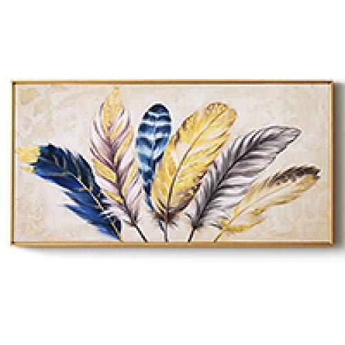 Timor Peintures décorativesgolden Plume Tableaux muraux abstraits Toile peinture Maison Salon Chambre décoration peinture murale fonctionne sans Cadre, 70X140 cm