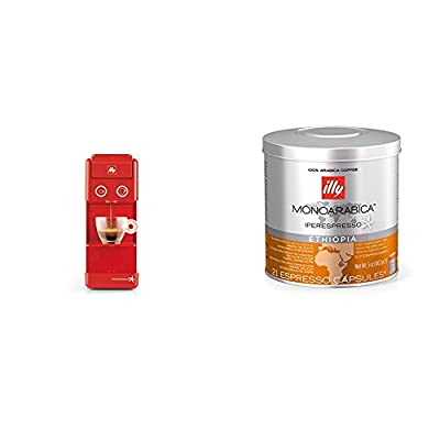 Francis Francis by illy 60292 Y3.2 Iperespresso Coffee Capsule Machine, 850 Watt, Red with illy Iperespresso Monoarabica Ethiopia 21 Espresso Capsules, 141g (Pack of 1, Total 21 Capsules)