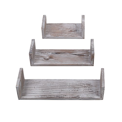 Rustic Floating Shelves Wall Mounted Set of 3, Torched Wood Farmhouse Storage Shelf for Bathroom, Kitchen, Bedroom, Living Room, Office and More